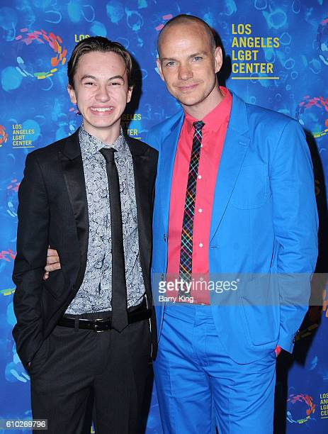 Actors Hayden Byerly and Peter Paige attend the Los Angeles LGBT 47th Anniversary Gala at Pacific Design Center on September 24 2016 in West...