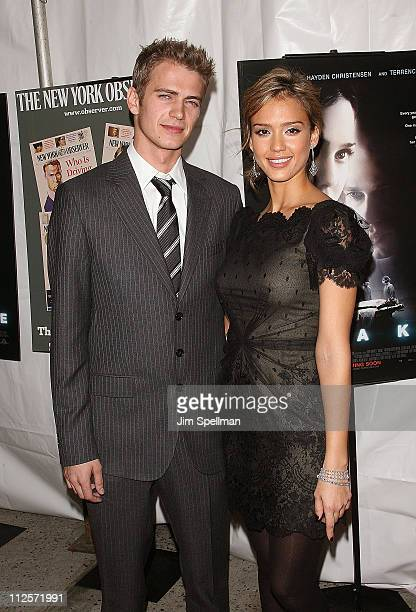 Actors Hayden Christensen and Jessica Alba arrive at the Awake Premiere at Chelsea West Cinema on November 14 2007 in New York City