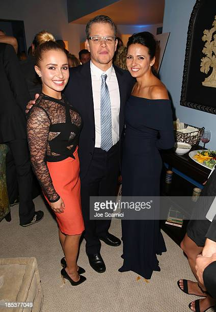 Actors Hayden Panettiere Matt Damon and Luciana Damon attend the 23rd Annual Environmental Media Awards presented by Toyota and Lexus at Warner Bros...