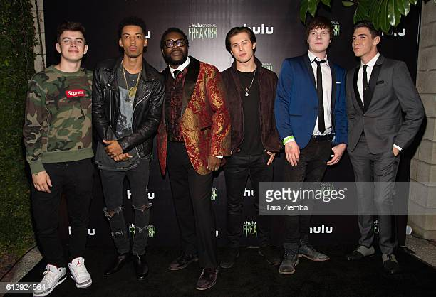 Actors Hayes Grier Melvin Gregg Chad L Coleman Leo Howard Adam Hicks and Tyler Chase attend the premiere of Hulu's 'Freakish' at Smogshoppe on...