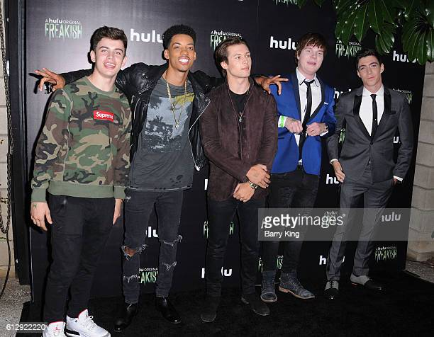Actors Hayes Grier Melvin Gregg Leo Howard Adam Hicks and Tyler Chase attend the premiere of Hulu's 'Freakish' at Smogshoppe on October 5 2016 in Los...