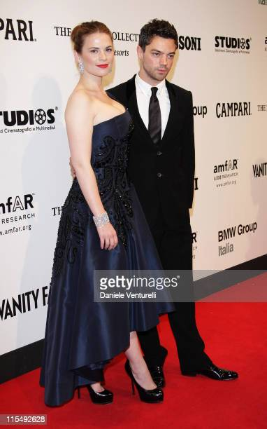 Actors Hayley Atwell and Dominic Cooper arrive at amfAR's second annual Cinema Against AIDS Rome at the Galleria Borghese on October 24 2008 in Rome...