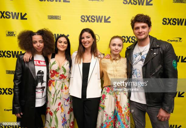 Actors Hayley Law Camila Mendes director Carly Stone actor Jessica Barden and actor Brett Dier attend the premiere of The New Romantic during SXSW at...