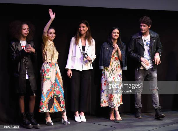 Actors Hayley Law Camila Mendes director Carly Stone actor Jessica Barden and actor Brett Dier speak onstage at the premiere of The New Romantic...