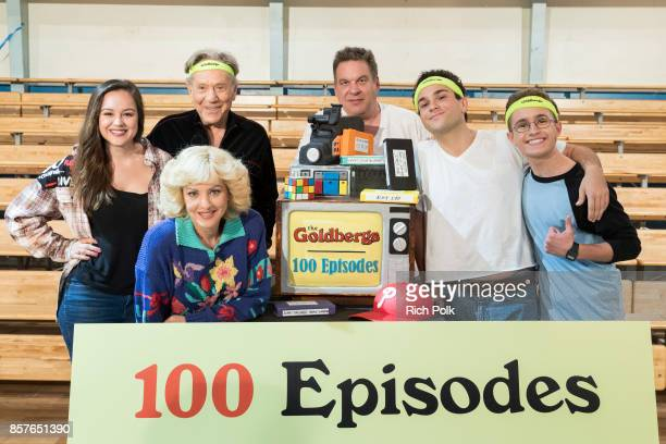 Actors Hayley Orrantia George Segal Jeff Garlin Troy Gentile Sean Giambrone and Wendi McLendonCovey pose for a photo at event celebrating the 100th...