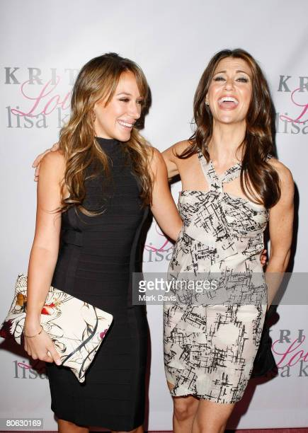 Actors Haylie Duff and Samantha Harris pose at the Jonathan Cheban launch of Kritik Clothing held at the Lisa Kline store on April 10 2008 in Beverly...