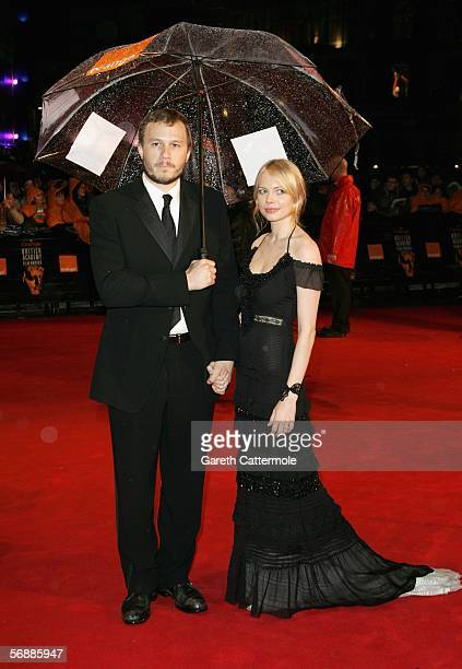 Actors Heath Ledger and fiancee Michelle Williams arrive at The Orange British Academy Film Awards at the Odeon Leicester Square on February 19 2006...