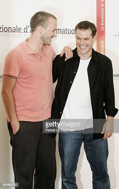 Actors Heath Ledger and Matt Damon attend the photocall for the incompetition film 'The Brothers Grimm' at the Palazzo del Casino as part of the 62nd...