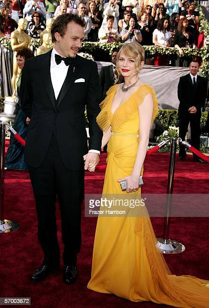 Actors Heath Ledger and Michelle Williams arrive to the 78th Annual Academy Awards at the Kodak Theatre on March 5 2006 in Hollywood California