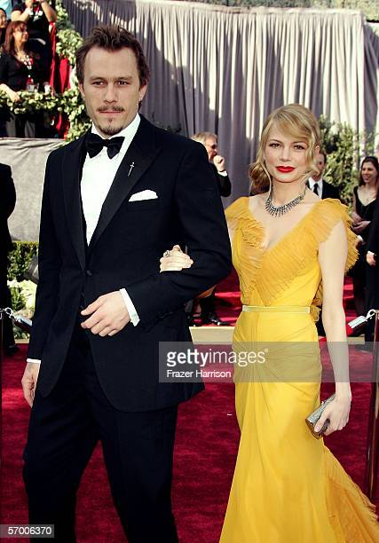 Actors Heath Ledger and Michelle Williams arrive to the 78th Annual Academy Awards at the Kodak Theatre on March 5, 2006 in Hollywood, California.
