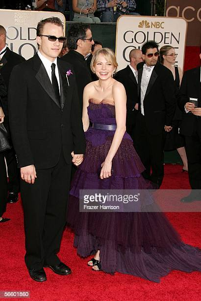 Actors Heath Ledger and Michelle Williams arrives to the 63rd Annual Golden Globe Awards at the Beverly Hilton on January 16 2006 in Beverly Hills...