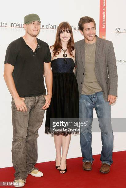 Actors Heath Ledger Anne Hathaway and Jake Gyllenhaall pose at the photocall for the competition film Brokeback Mountain at the Palazzo del Cinema as...