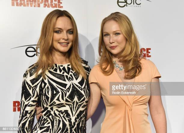 Actors Heather Graham and Molly Quinn attend the premiere of Epic Pictures Releasings' 'Last Rampage' at ArcLight Cinemas on September 21 2017 in...