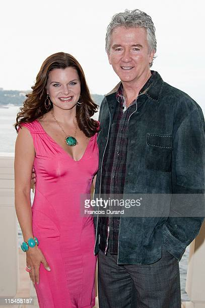 US actors Heather Tom and Patrick Duffy pose at Monte Carlo Bay Hotel before they meet contest winners during the 2011 Monte Carlo Television...