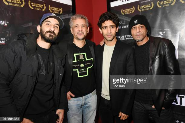 Actors Hedi Bouchenafa Abel Jafri Salim Kechiouche and Hichem Yacoubi attend 'Voyoucratie' premiere at Publicis Champs Elysees on January 31 2018 in...