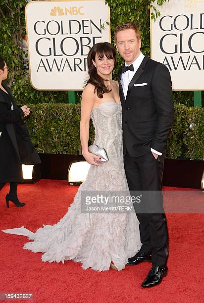 Actors Helen McCrory and Damian Lewis arrive at the 70th Annual Golden Globe Awards held at The Beverly Hilton Hotel on January 13, 2013 in Beverly...