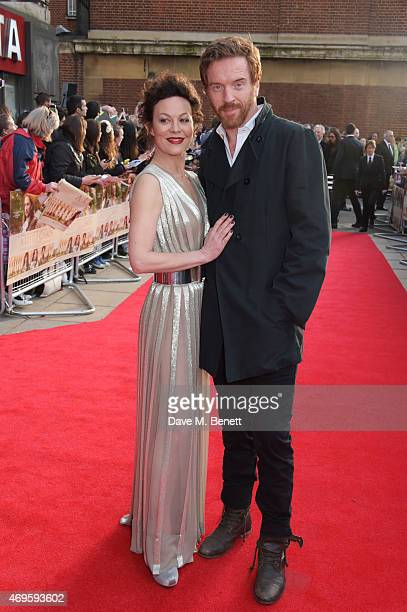 """Actors Helen McCrory and Damian Lewis attend the UK premiere of """"A Little Chaos"""" at ODEON Kensington on April 13, 2015 in London, England."""