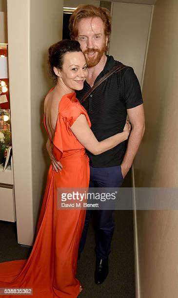 Actors Helen McCrory and Damian Lewis pose backstage following the press night performance of 'The Deep Blue Sea' at The National Theatre on June 8...