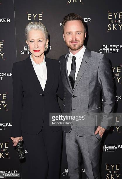 Actors Helen Mirren and Aaron Paul attend the Eye In The Sky New York Premiere at AMC Loews Lincoln Square 13 theater on March 9 2016 in New York City