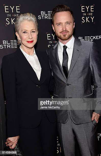 Actors Helen Mirren and Aaron Paul attend the 'Eye In The Sky' New York Premiere at AMC Loews Lincoln Square 13 theater on March 9 2016 in New York...