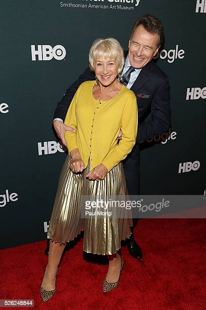 Actors Helen Mirren and Bryan Cranston attend the Google/HBO celebration of 'All The Way' during White House Correspondents' weekend at the Renwick...