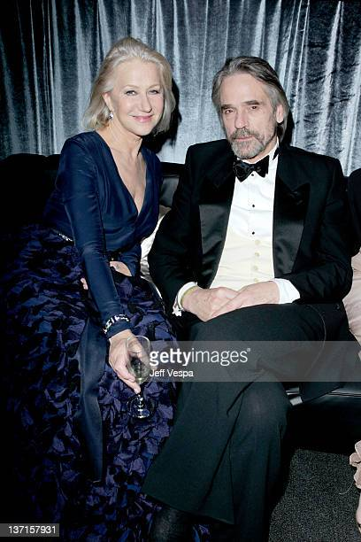 Actors Helen Mirren and Jeremy Irons attend The Weinstein Company's 2012 Golden Globe Awards After Party with Chopard Marie Claire and HP at The...
