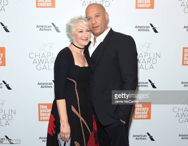 Actors Helen Mirren and Vin Diesel attend the 45th Chaplin Award Gala at the on April 30 2018 in New York City