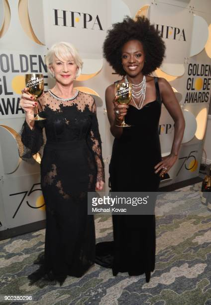 Actors Helen Mirren and Viola Davis celebrate The 75th Annual Golden Globe Awards with Moet Chandon at The Beverly Hilton Hotel on January 7 2018 in...