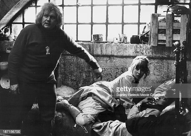 Actors Helen Mirren Scott Anthony and director Ken Russell on the set of the film 'Savage Messiah' 1972