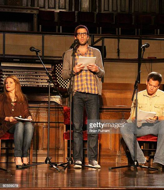 Actors Helen Shaver Zachary Quinto and Michael Weatherly participate in a reading of 'The Laramie Project 10 Years Later' at Hollywood United...