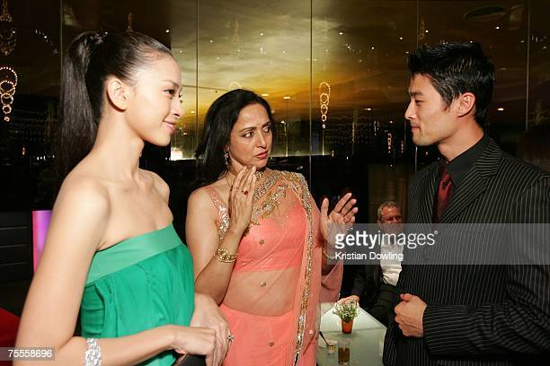 Actors Hema Malini Johnny Nguyen and Ngo Thanh Van attend the 2007 Bangkok International Film Festival Opening Ceremony July 19 2007 at SF World...