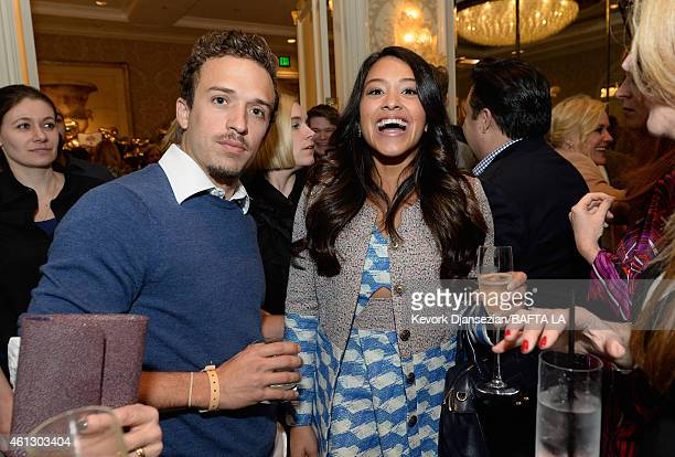 Actors Henri Esteve and Gina Rodriguez attend the 2015 BAFTA Tea Party at The Four Seasons Hotel Los Angeles At Beverly Hills on January 10 2015 in...