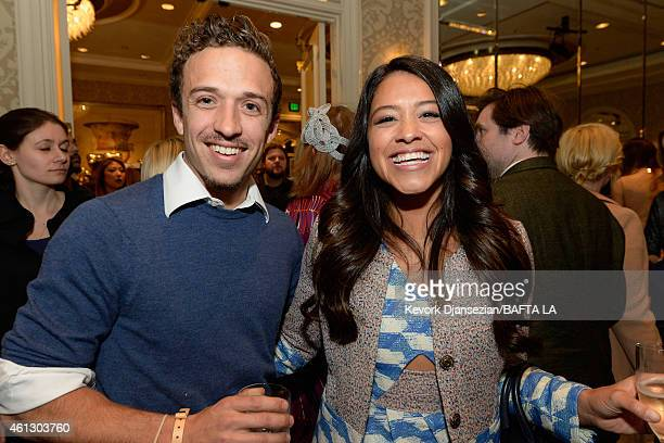 Actors Henri Esteve and Gina Rodriguez attend the BAFTA Los Angeles Tea Party at The Four Seasons Hotel Los Angeles At Beverly Hills on January 10...