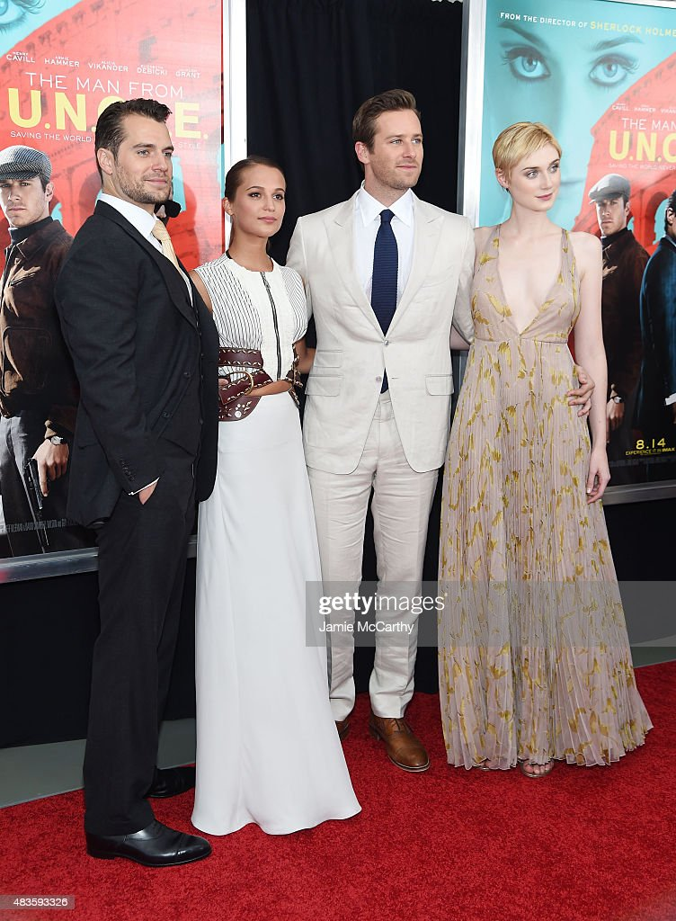 Actors Henry Cavill, Alicia Vikander, Armie Hammer, and Elizabeth Debicki attend the New York Premiere of 'The Man From U.N.C.L.E.' at Ziegfeld Theater on August 10, 2015 in New York City.
