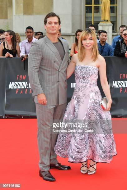 Actors Henry Cavill and Alix Benezech attend the Mission Impossible Fallout' Global Premiere in Paris on July 12 2018 in Paris France