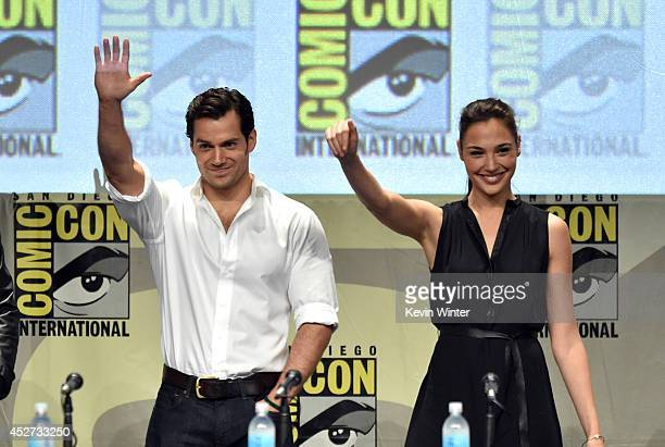 Actors Henry Cavill and Gal Gadot attend the Warner Bros Pictures panel and presentation during ComicCon International 2014 at San Diego Convention...