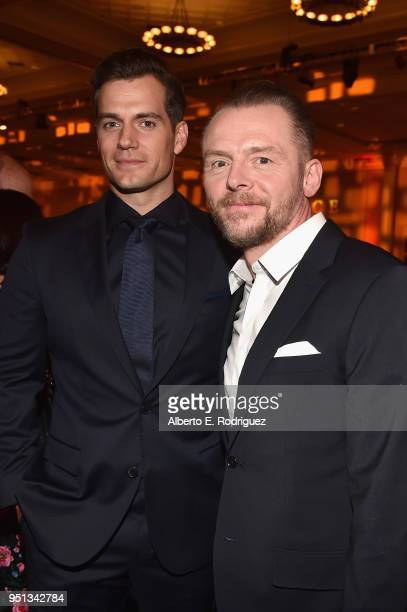 "Actors Henry Cavill and Simon Pegg attend the 2018 Will Rogers ""Pioneer of the Year"" Dinner Honoring Tom Cruise at Caesars Palace during CinemaCon..."