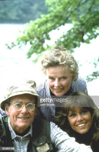 Actors Henry Fonda Katharine Hepburn and Jane Fonda in scene from movie On Golden Pond