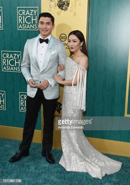 Actors Henry Golding and Constance Wu arrive at the Warner Bros Pictures' 'Crazy Rich Asians' premiere at the TCL Chinese Theatre IMAX on August 7...