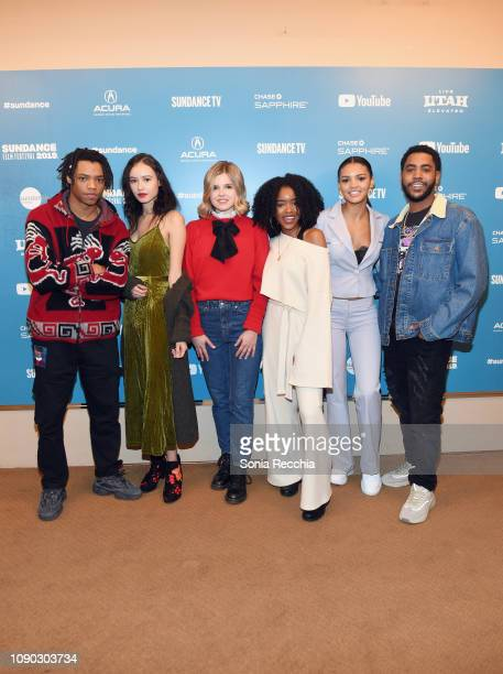 Actors Henry Hunter Hall Francesca Noel Ana Mulvoy Ten Lovie Simone Celeste O'Connor and Jharrel Jerome attend the Selah And The Spades Premiere...