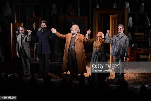 Actors Henry Stram Hamish Linklater John Noble Dale Soules and Mickey Theis attend the curtain call for the opening night of Posterity at The Linda...