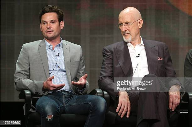 """Actors Henry Thomas and James Cromwell speak onstage during the """"Betrayal"""" panel discussion at the Disney/ABC Television Group portion of the..."""
