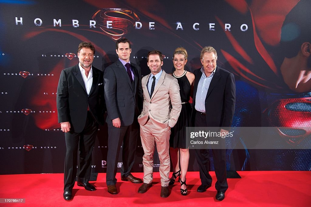 Actors Herny Cavill, Rusell Crowe, director Zack Snyder his wife producer Deborah Snyder and producer Charles Roven attend the 'Man of Steel' (El Hombre de Acero) premiere at the Capitol cinema on June 17, 2013 in Madrid, Spain.