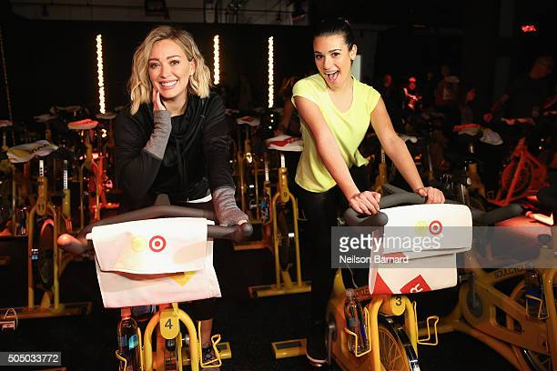 Actors Hilary Duff and Lea Michele attend the SoulCycle x Target Launch Event on January 14 2016 in New York City