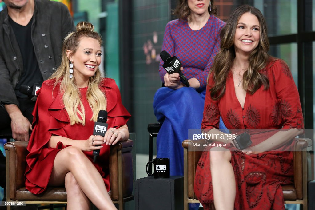 Actors Hilary Duff (L) and Sutton Foster visit Build Studio to discuss the television show 'Younger' on June 5, 2018 in New York City.