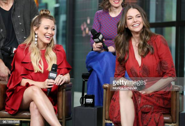Actors Hilary Duff and Sutton Foster visit Build Studio to discuss the television show Younger on June 5 2018 in New York City