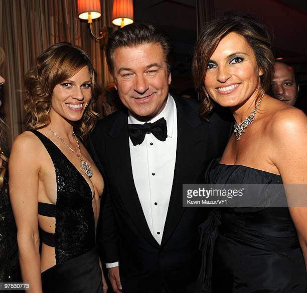 Actors Hilary Swank, Alec Baldwin and Mariska Hargitay attend the 2010 Vanity Fair Oscar Party hosted by Graydon Carter at the Sunset Tower Hotel on...