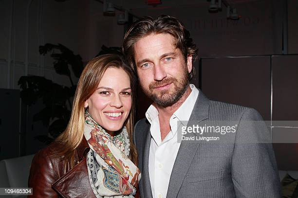 Actors Hilary Swank and Gerard Butler attend the 2011 Film Independent Spirit Awards Voter Party at Santa Monica Place on February 26 2011 in Santa...