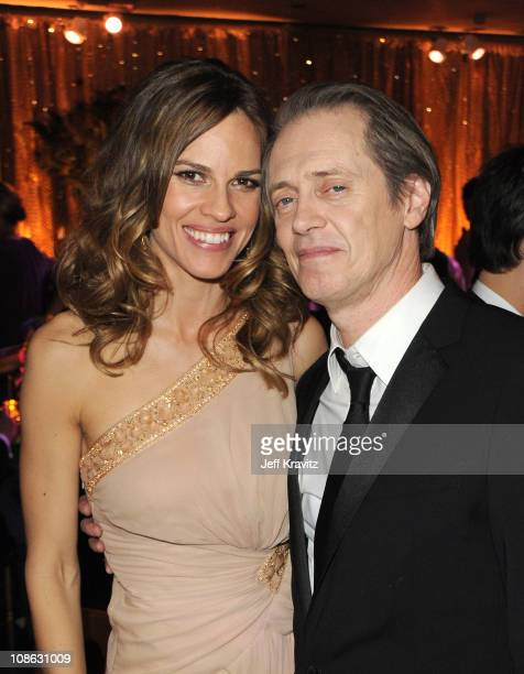 Actors Hilary Swank and Steve Buscemi attend the official HBO SAG Awards after party held at at Spago on January 29 2011 in Beverly Hills California