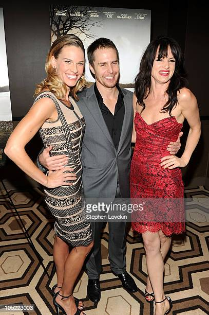 Actors Hilary Swank Sam Rockwell and Juliete Lewis attend the Cinema Society Laura Mercier screening of Conviction at Tribeca Grand Hotel on October...